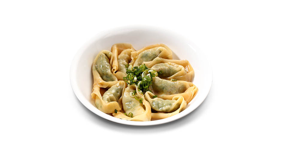 Vegetable and Ground Pork Wontons with House Soy Sauce